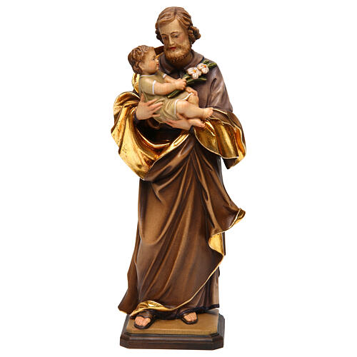 Saint Joseph with baby by Guido Reni in Valgardena wood 1