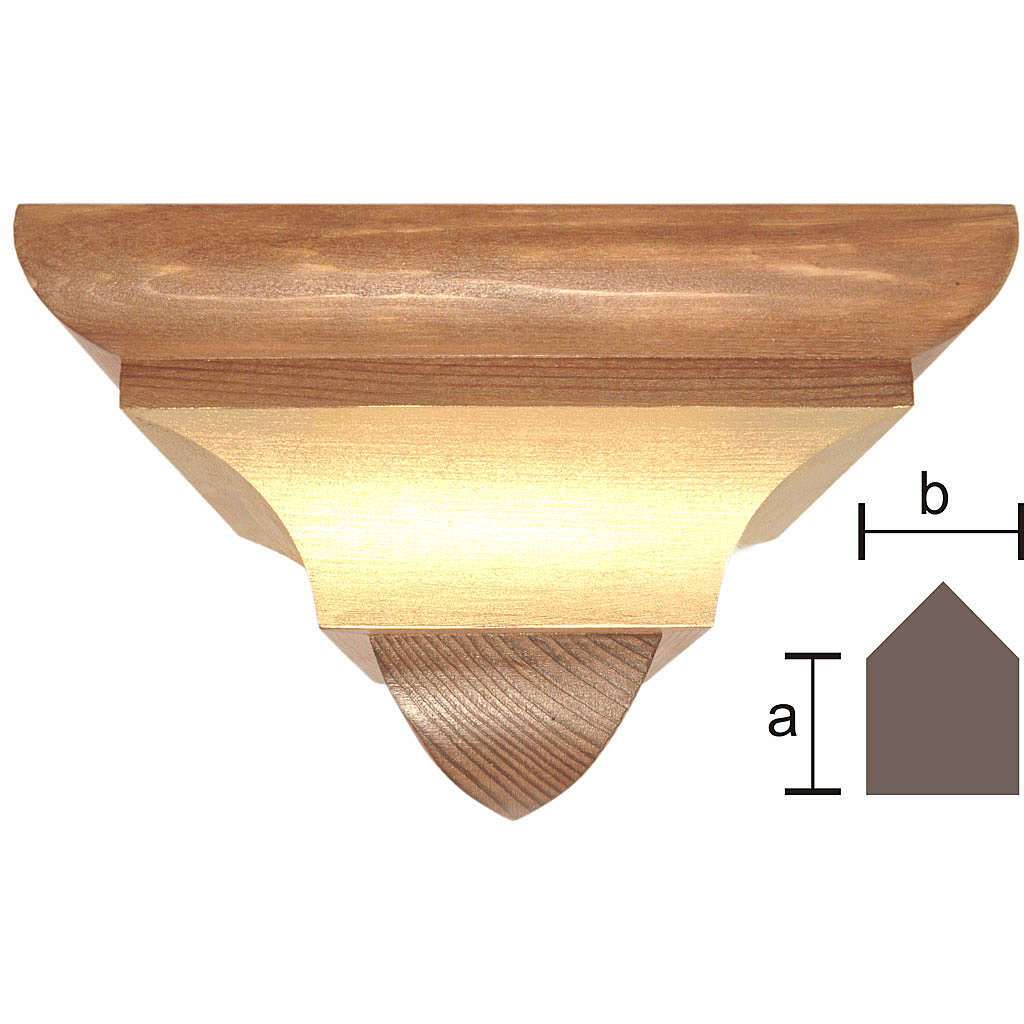 Wall bracket for corner in wood from Valgardena, gothic style 4
