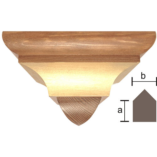 Wall bracket for corner in wood from Valgardena, gothic style 1