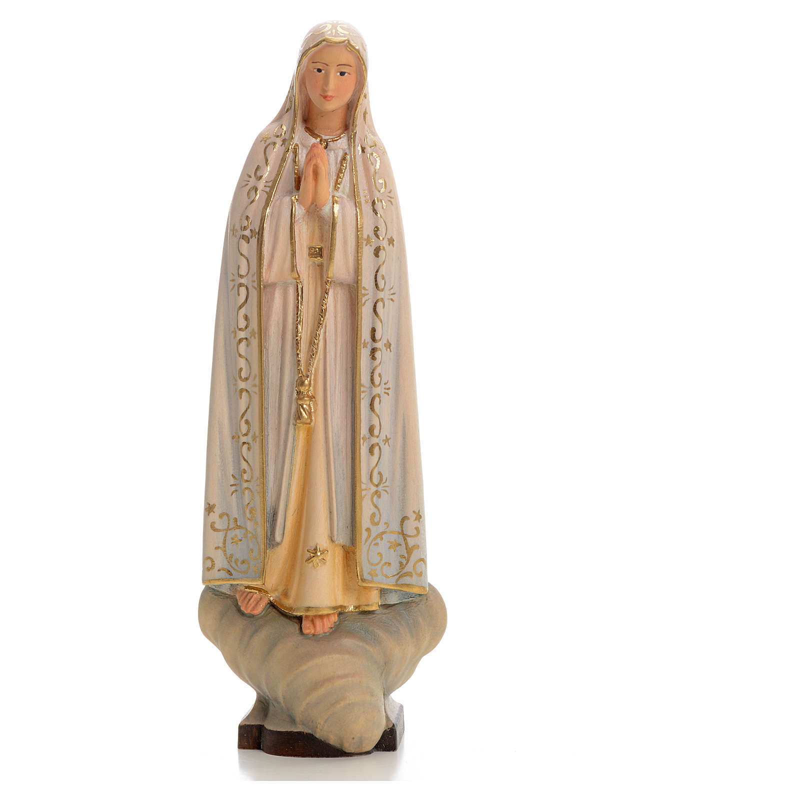 Madonna di Fatima legno dipinto Valgardena 4