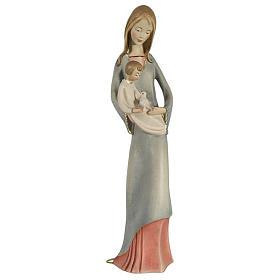 Statues en bois peint: Vierge à l'enfant et colombe bois peint Valgardena