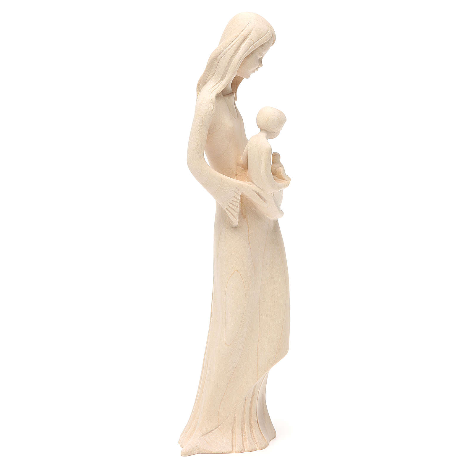 Virgin with baby and dove in painted Valgardena wood 4