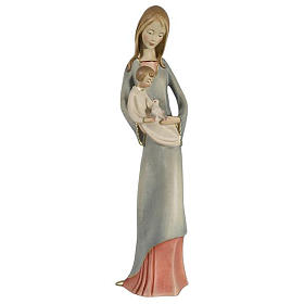 Virgin with baby and dove in painted Valgardena wood s1