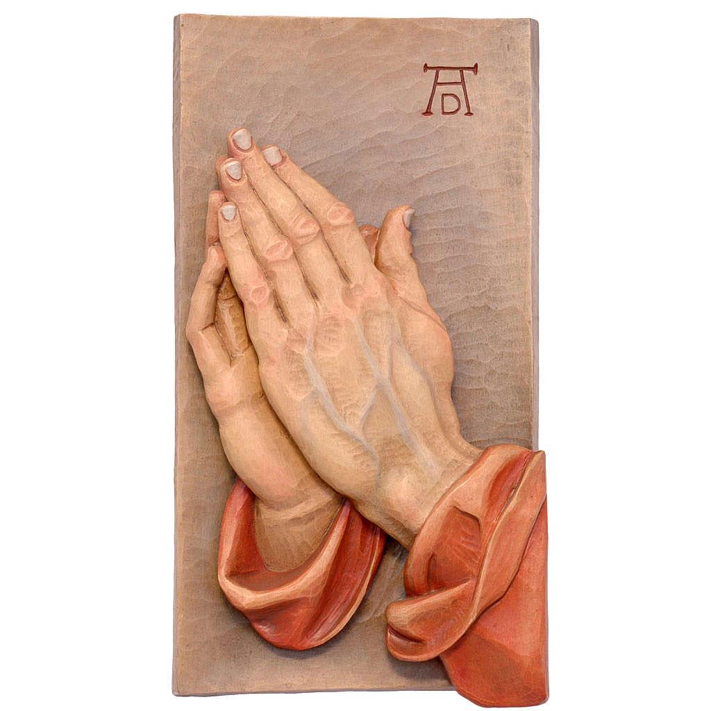 Bassorilievo Mani Giunte legno dipinto Val Gardena 4