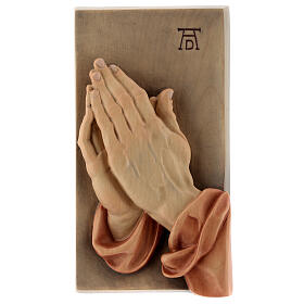 Płaskorzeźba Dłonie Złożone drewno malowane Valgardena s1