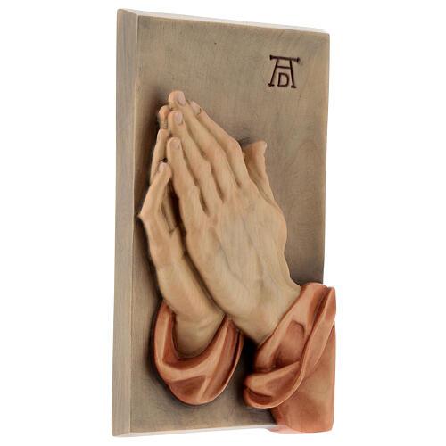 Płaskorzeźba Dłonie Złożone drewno malowane Valgardena 3