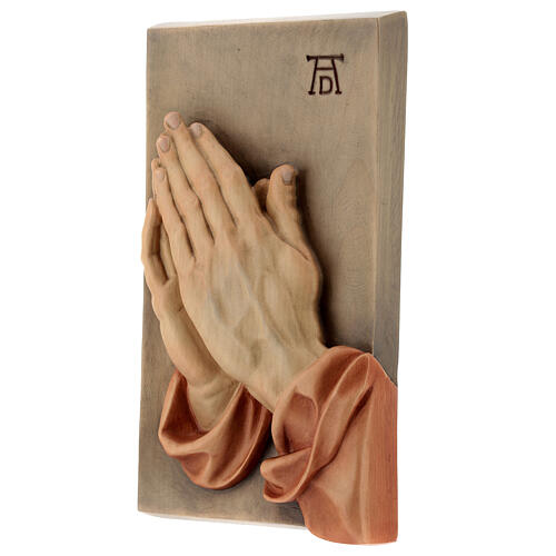 Clasped hands bas-relief in painted Valgardena wood 2