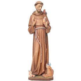 San Francesco d'Assisi legno dipinto Val Gardena s1