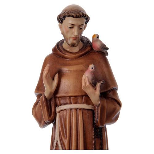 São Francisco de Assis madeira pintada Val Gardena