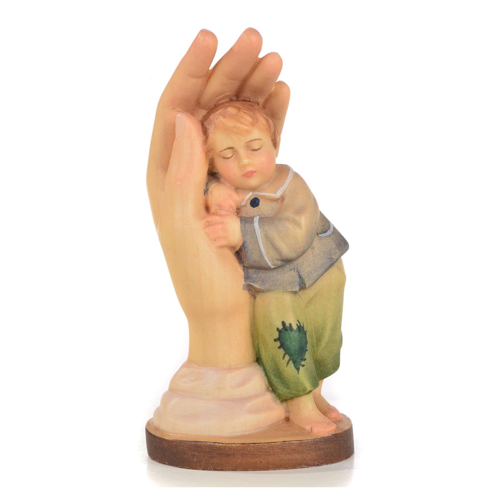 Main protectrice garçon bois peint Valgardena 4