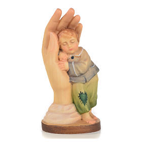 Hand painted wooden statues: Protective hand with baby boy in Valgardena wood