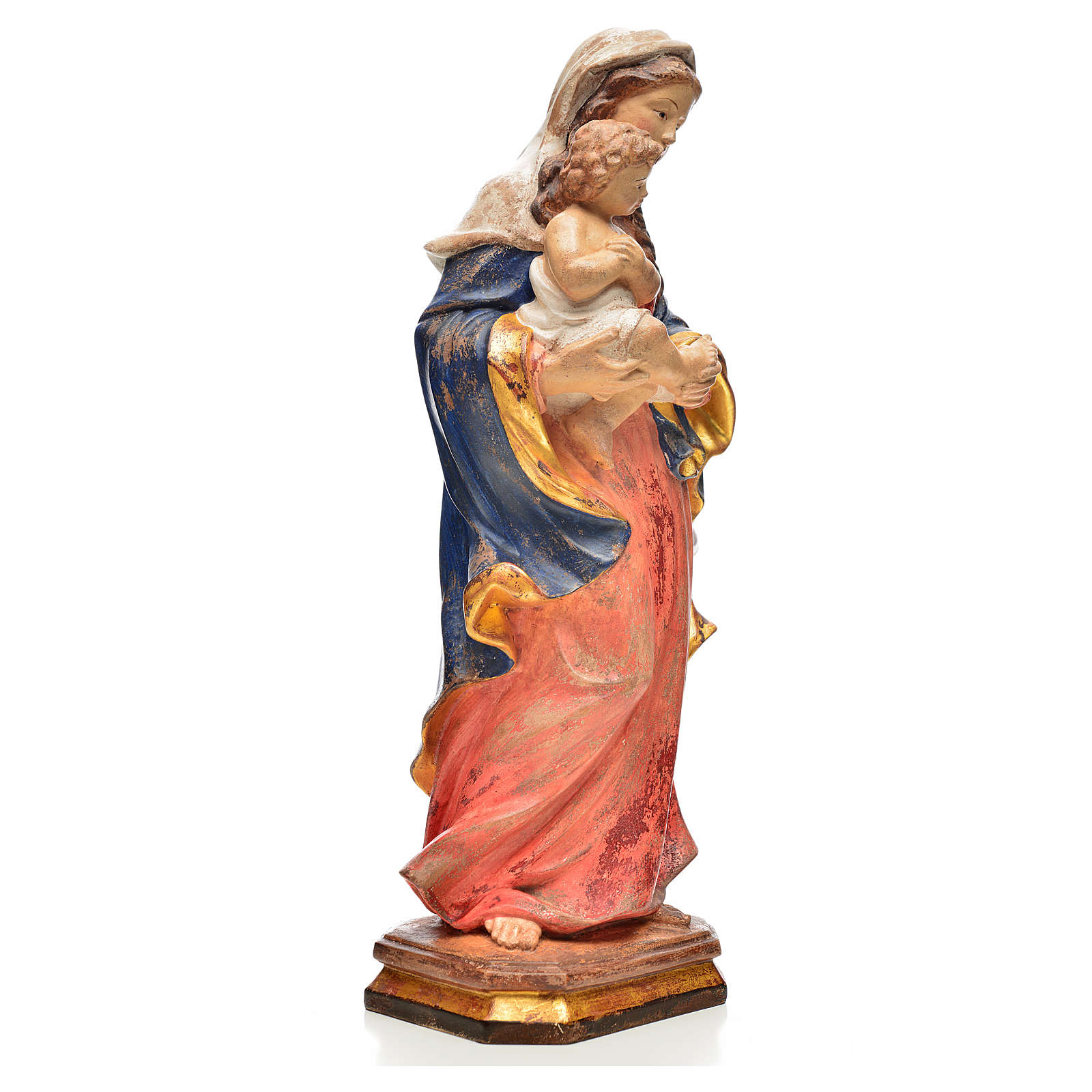 Vierge style baroque 40 cm bois Valgardena Old Gold 4