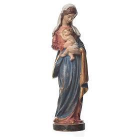 Madonna con bimbo legno Valgardena fin. Old Antico Gold s1