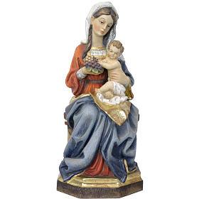 Virgen sentada con niño y uva, madera Valgardena Antiguo dorado s1