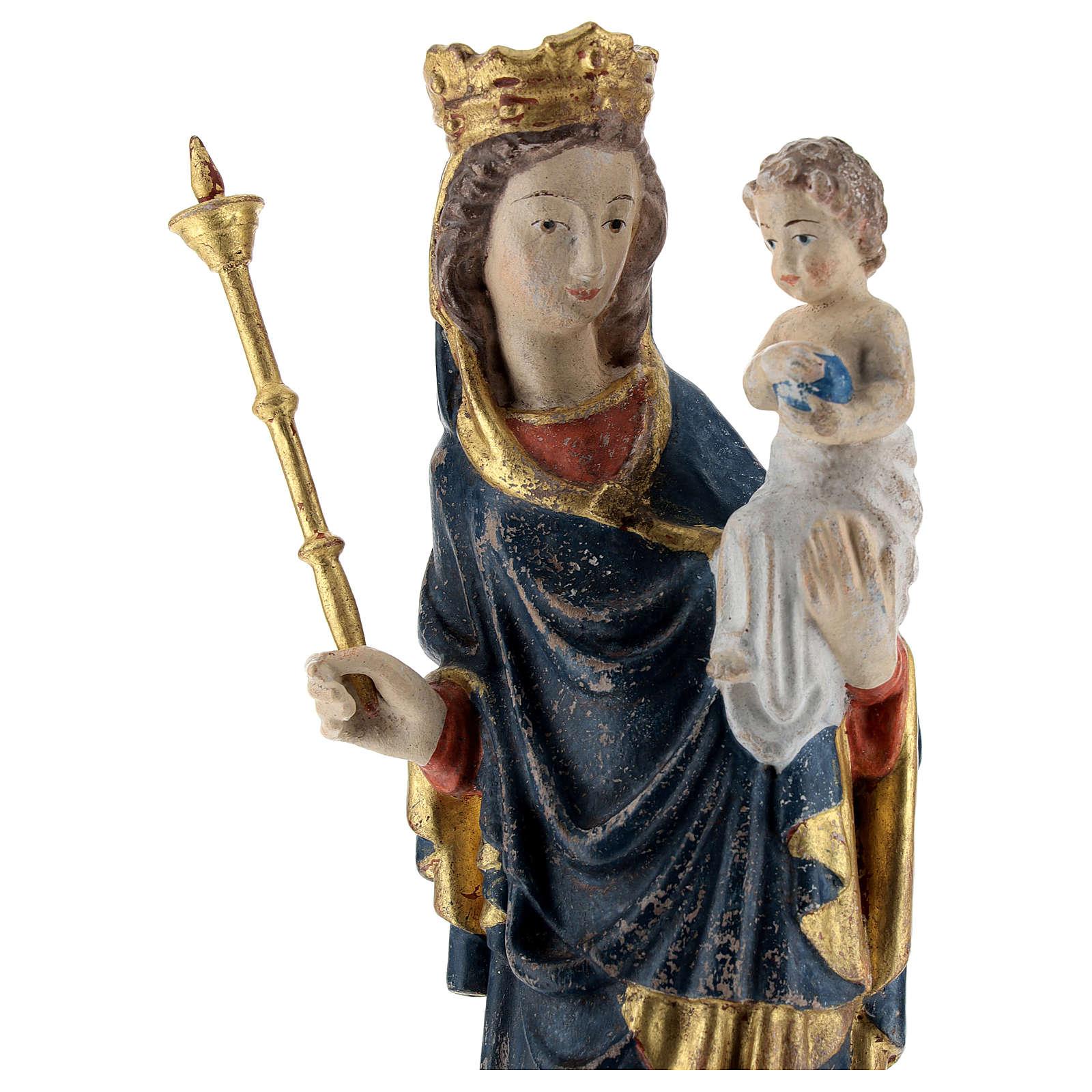Madonna bimbo scettro 25 cm stile gotico legno Old Antico Gold 4