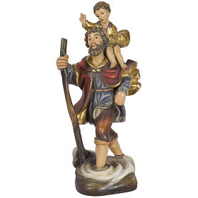 San Cristoforo con bimbo 44 cm legno Valgardena Antico Gold s1