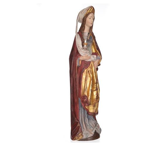 Santa Bárbara con cáliz 56cm, madera Valgardena Antiguo Dorado 9