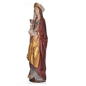 Sainte Barbara avec calice 56 cm bois Valgardena Old Gold s2