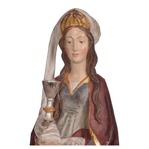 Sainte Barbara avec calice 56 cm bois Valgardena Old Gold 5