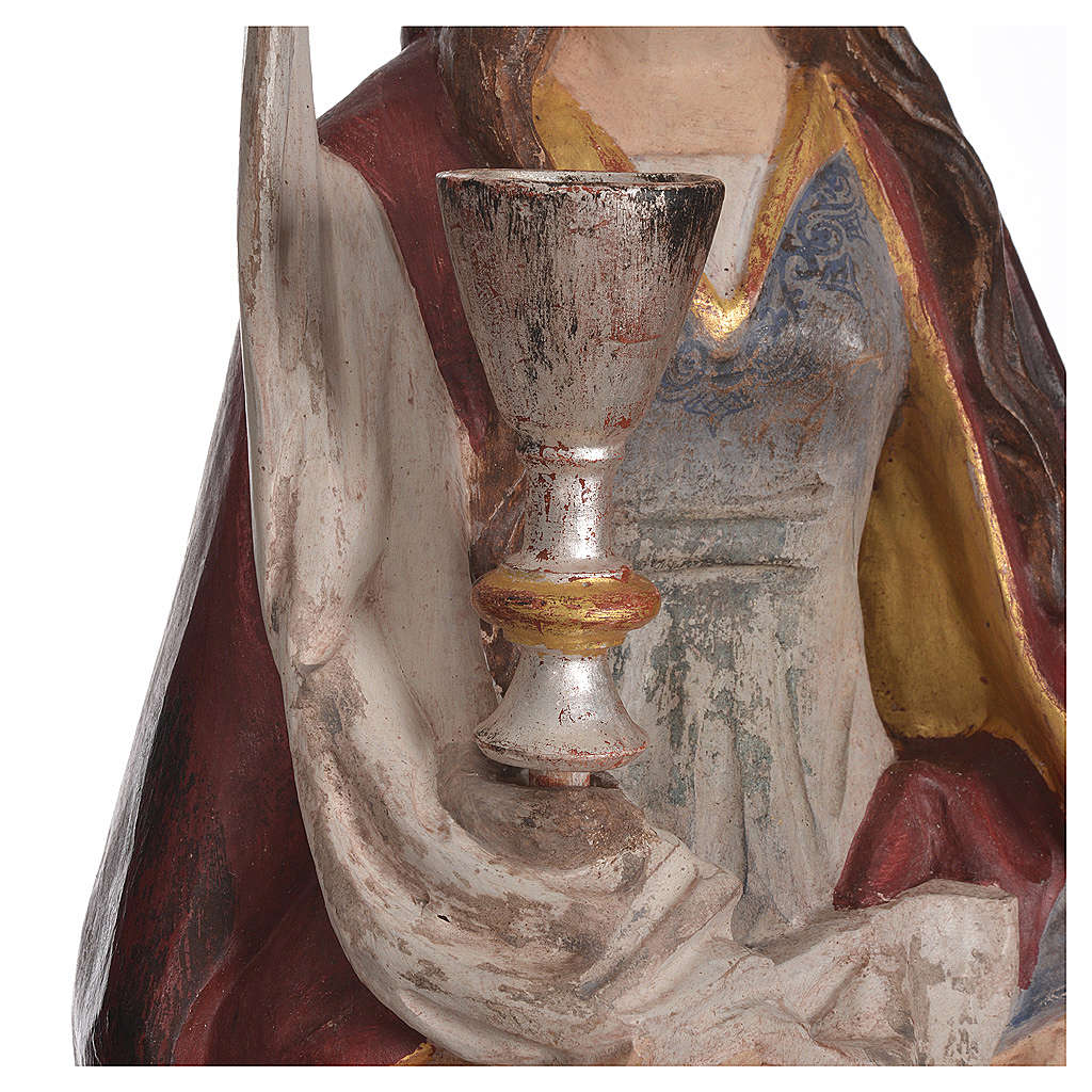 Santa Barbara con calice 56 cm legno Valgardena Antico Gold 4