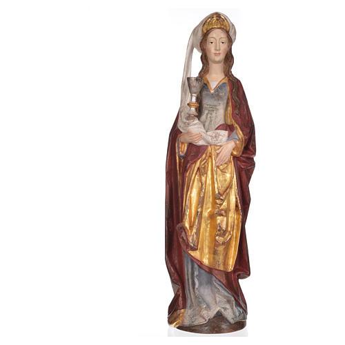 Santa Barbara con calice 56 cm legno Valgardena Antico Gold 7