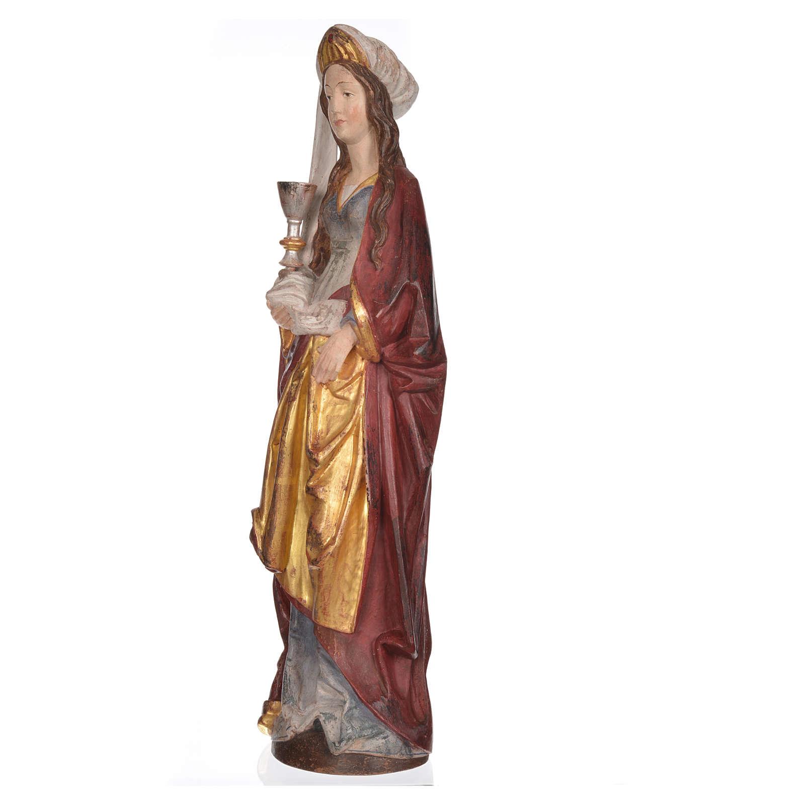 Święta Barbara z kielichem 56 cm drewno Valgardena Antico Gold 4