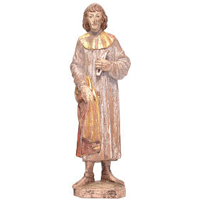 Saint Cosmas 25cm in patinated Valgardena wood, old antique gold s1