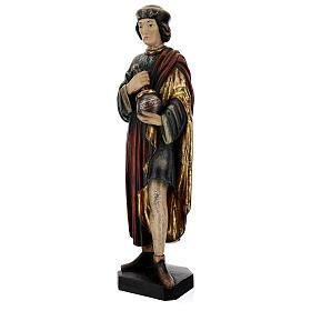 San Damiano con mortaio 50 cm legno Valgardena Antico Gold s5