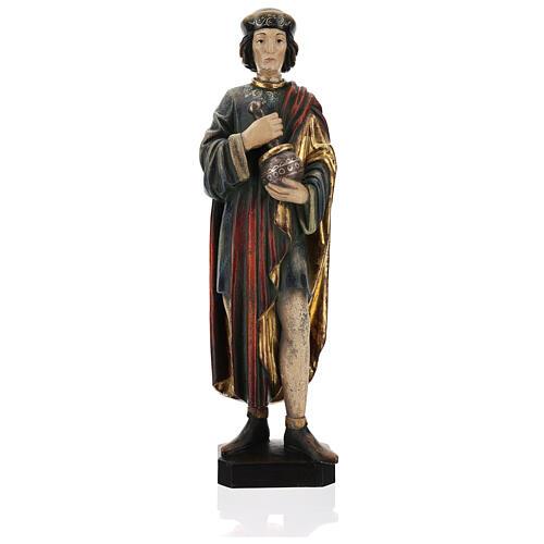 San Damiano con mortaio 50 cm legno Valgardena Antico Gold 1