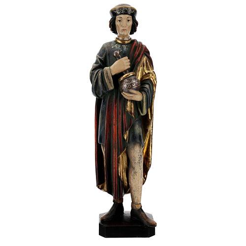 San Damiano con mortaio 50 cm legno Valgardena Antico Gold 3