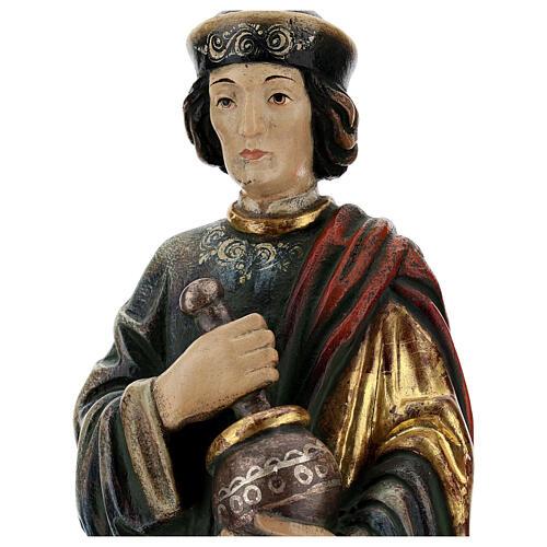 San Damiano con mortaio 50 cm legno Valgardena Antico Gold 4