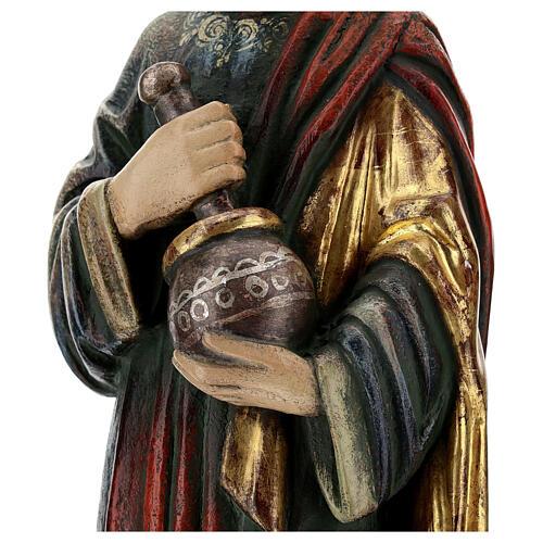San Damiano con mortaio 50 cm legno Valgardena Antico Gold 6
