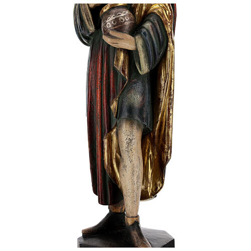 San Damiano con mortaio 50 cm legno Valgardena Antico Gold 7
