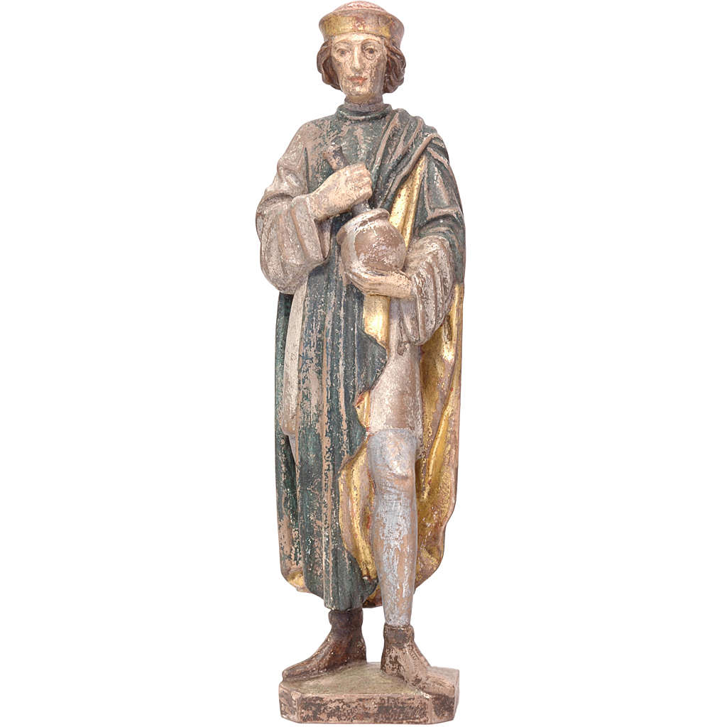 Saint Damien with mortar 25cm in Valgardena wood, old antique go 4