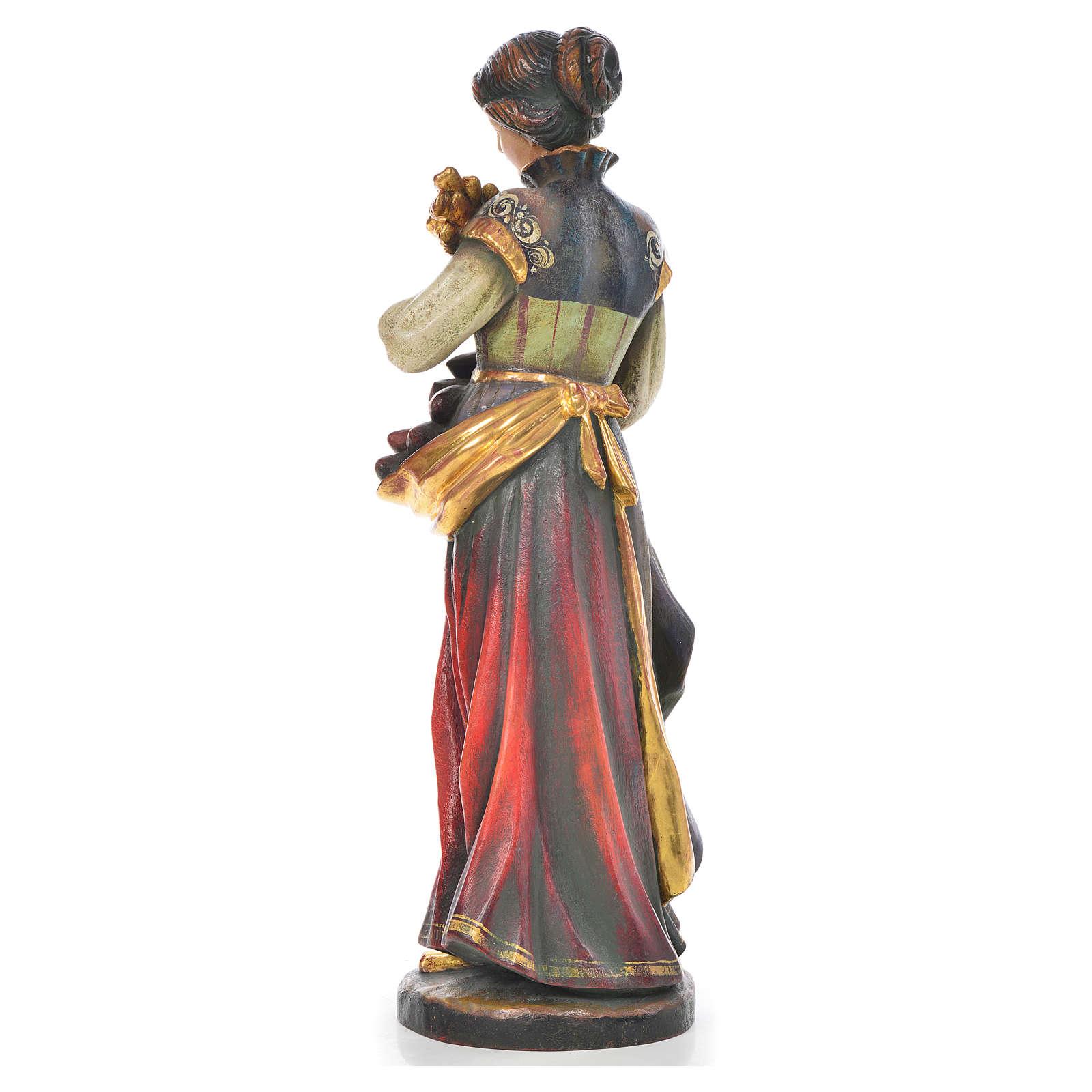 Santa Notburga con spighe e pane legno Valgardena Antico Gold 4
