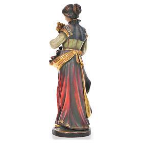 Santa Notburga con spighe e pane legno Valgardena Antico Gold s3