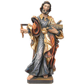 Saint Joseph travailleur 53 cm bois Valgardena Old Gold s1