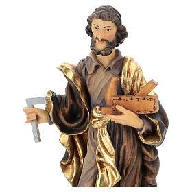 San Giuseppe lavoratore legno Valgardena dipinto s2
