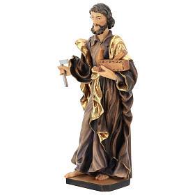 San Giuseppe lavoratore legno Valgardena dipinto s3