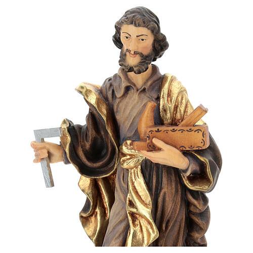 San Giuseppe lavoratore legno Valgardena dipinto 2