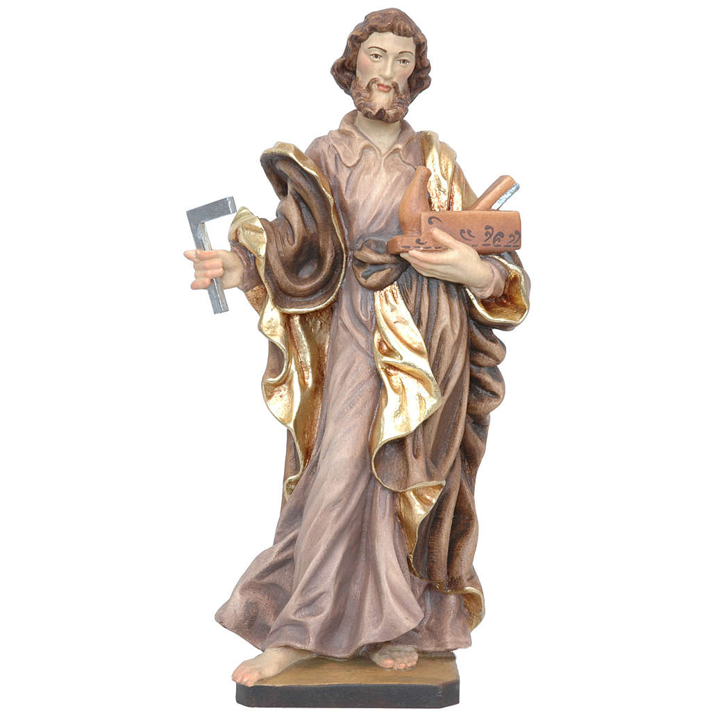 Saint Joseph the worker statue in painted Valgardena wood 4