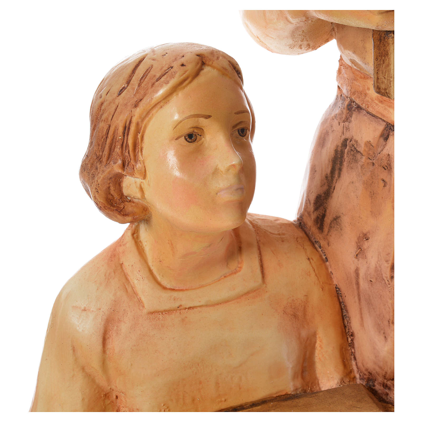 Saint Joseph the carpenter with baby statue in painted wood H110 4