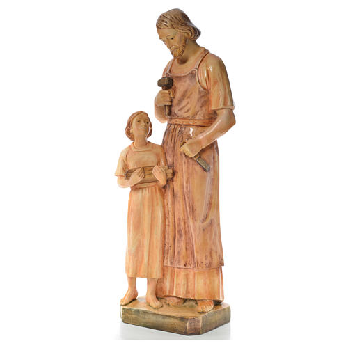 Saint Joseph the carpenter with baby statue in painted wood H110 2