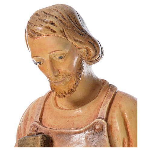Saint Joseph the carpenter with baby statue in painted wood H110 6