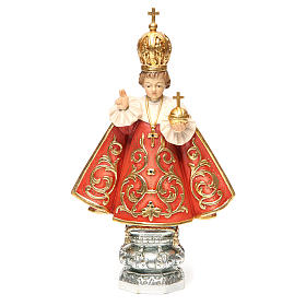 Hand painted wooden statues: Baby Jesus of Prague in painted Valgardena wood