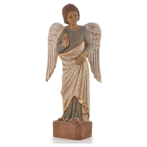 Ange au Sourire de Reims 39 cm legno finitura antica 1