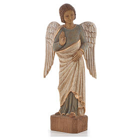 Figurki z drewna malowanego: Ange au Sourire de Reims 39 cm drewno wykończenie antyczne