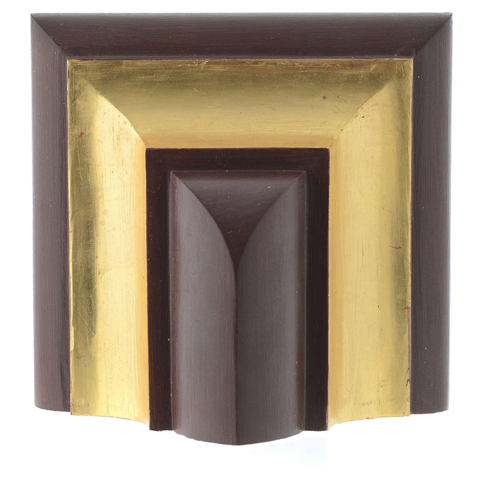 Ménsula pared gótica de madera Valgardena antiguo dorado 4