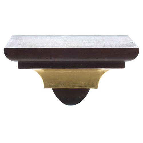 Wall shelf, gothic style in Valgardena wood, old antique gold fi 1