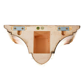 Prateleira parede gótica 22x27 cm madeira pátina múltipla s5